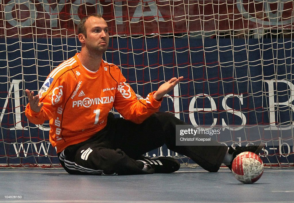 <a gi-track='captionPersonalityLinkClicked' href=/galleries/search?phrase=Thierry+Omeyer&family=editorial&specificpeople=853674 ng-click='$event.stopPropagation()'>Thierry Omeyer</a> of Kiel sits in the goal during the Toyota Handball Bundesliga match between MT Melsungen and THW Kiel at the Rotehnbach Hall on September 28, 2010 in Kassel, Germany.