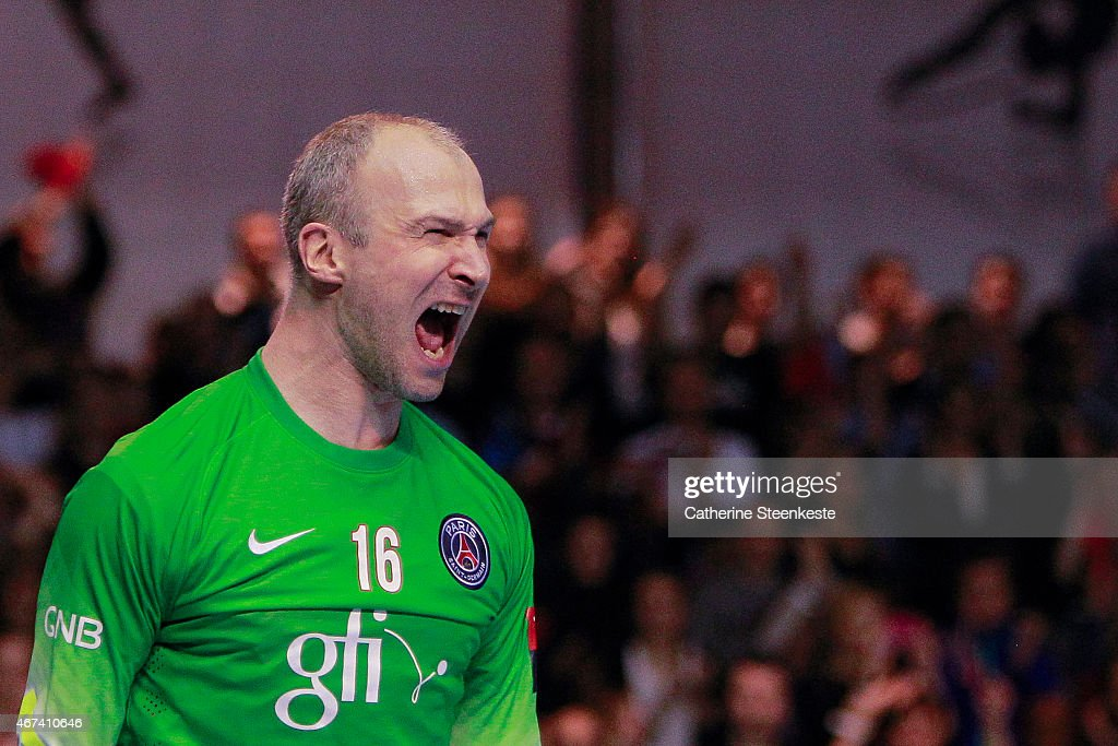 Thierry Omeyer #16 of PSG Handball is reacting after a play during the last 16 VELUX EHF Champions League game between PSG Handball and Dunkerque HB Grand Littoral at La Halle Carpentier on March 22, 2015 in Paris, France.
