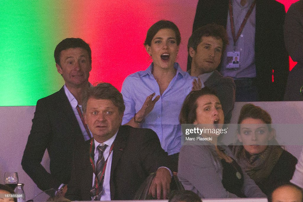 Thierry Rozier, Charlotte Casiraghi and <a gi-track='captionPersonalityLinkClicked' href=/galleries/search?phrase=Guillaume+Canet&family=editorial&specificpeople=240267 ng-click='$event.stopPropagation()'>Guillaume Canet</a> attend the 'Gucci Paris Masters 2012' at Paris Nord Villepinte on December 2, 2012 in Paris, France.