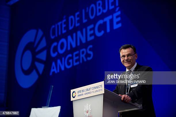 Thierry Sachot President of the 'Cite de l'Objet Connecte' delivers a speech during the inauguration of the center in SaintSylvaind'Anjoy near Angers...