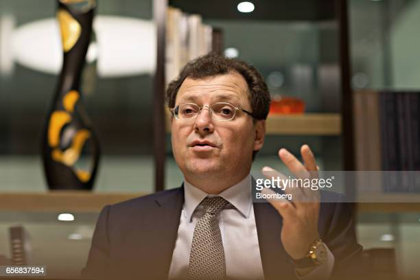 Thierry Stern chairman of Patek Philippe SA gestures as he speaks during an interview at the company's booth during the 2017 Baselworld luxury watch...