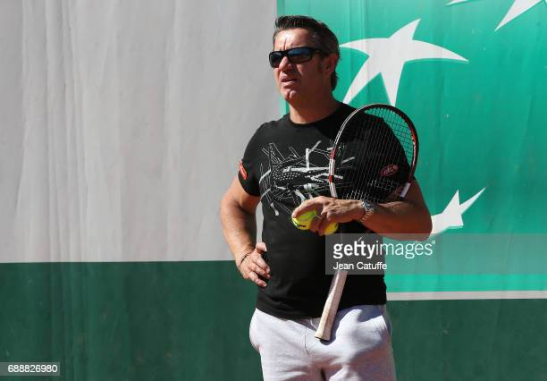 Thierry Van Cleemput coach of David Goffin of Belgium during practice three days ahead of the start of 2017 French Open at Roland Garros stadium on...
