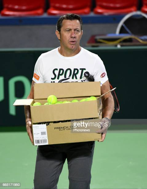 Thierry Van Cleemput coach of Gofin pictured during practice session before Davis Cup World quarterfinal match between Belgium and Italy in the...