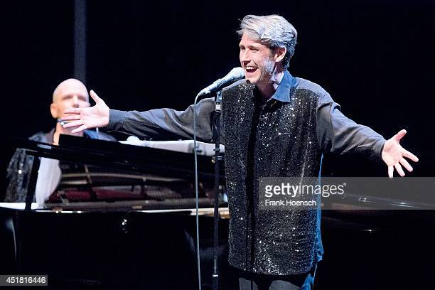 Thies Mynther and Dirk von Lowtzow of the band Phantom Ghost performs live during a concert at the Haus der Berliner Festspiele on July 7 2014 in...