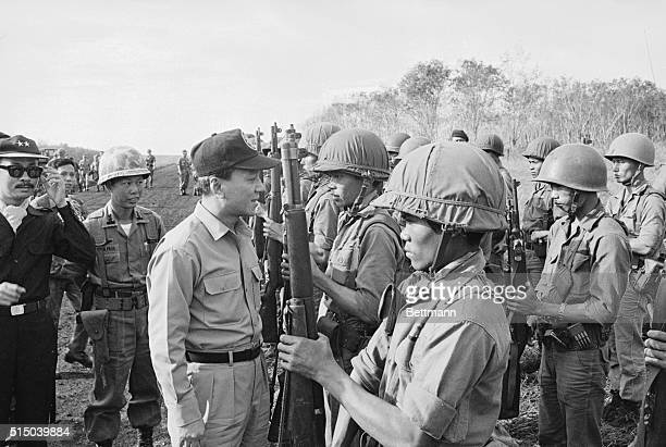 Thieu in the Field Loc Ninh South Vietnam South Vietnam President Nguyen Van Thieu congratulates the valiant defenders of the embattled allied post...
