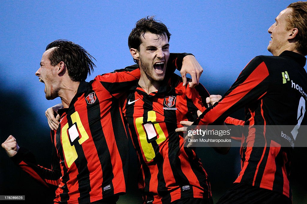 Thijs van der Velden of Rosmalen celebrates scoring the first goal of the game with team mates during the First round Dutch Cup match between OJC...