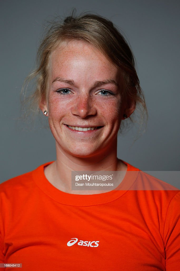 Thijsje Oenema, poses during the NOC*NSF (Nederlands Olympisch Comite * Nederlandse Sport Federatie) Sochi athletes and officials photo shoot for Asics at the Spoorwegmuseum on May 4, 2013 in Utrecht, Netherlands.