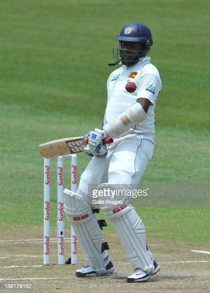 Thilan Samaraweera of Sri Lanka avoids a bouncer during Day Two of the second Sunfoil Test match between South Africa and Sri Lanka at Sahara Park...