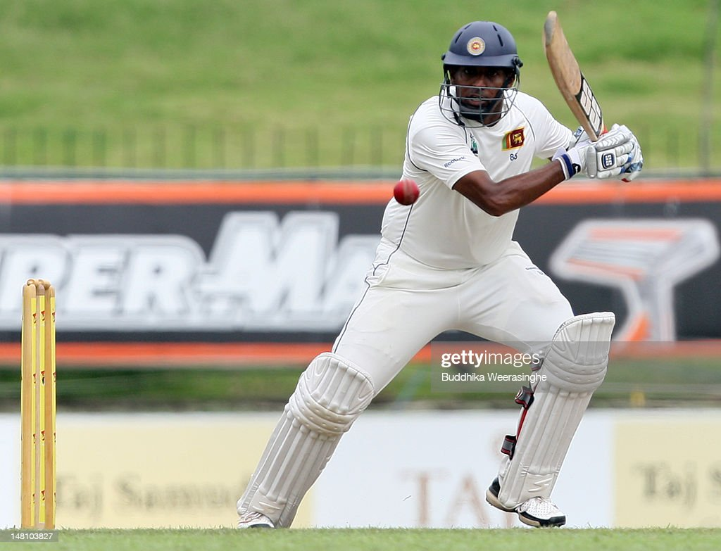 Thilan Samaraweera of Sri Lanka bats during day three of the third test between Sri Lanka and Pakistan at Pallekele International Cricket Stadium on...