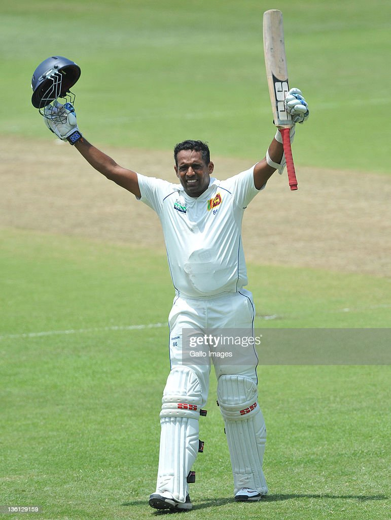 Thilan Samaraweera of Sri Lanka celebrates his 100 during Day Two of the second Sunfoil Test match between South Africa and Sri Lanka at Sahara Park Kingsmead on December 27, 2011 in Durban, South Africa.