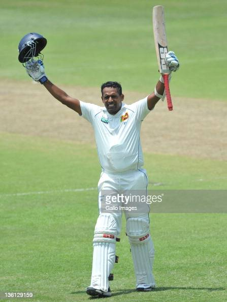 Thilan Samaraweera of Sri Lanka celebrates his 100 during Day Two of the second Sunfoil Test match between South Africa and Sri Lanka at Sahara Park...