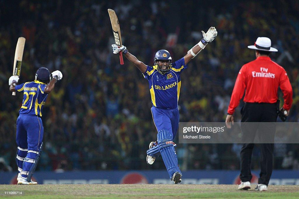 Thilan Samaraweera (C) of Sri Lanka celebrates hitting the winning runs and victory by five wickets during the 2011 ICC World Cup Semi-Final match between New Zealand and Sri Lanka at the R. Premadasa Stadium on March 29, 2011 in Colombo, Sri Lanka.