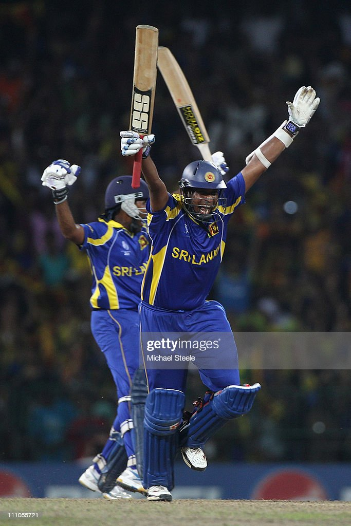Thilan Samaraweera of Sri Lanka celebrates hitting the winning runs and victory by five wickets during the 2011 ICC World Cup SemiFinal match between...