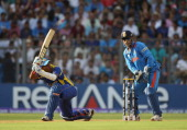 Thilan Samaraweera of Sri Lanka hits out during the 2011 ICC World Cup Final between India and Sri Lanka at the Wankhede Stadium on April 2 2011 in...