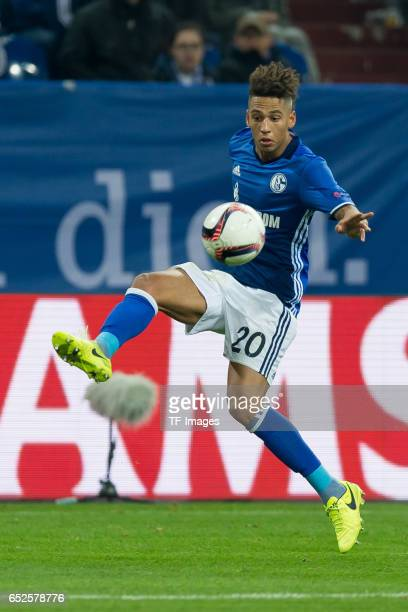 Thilo Kahrer of Schalke controls the ball during the UEFA Europa League Round of 16 first leg match between FC Schalke 04 and Borussia...