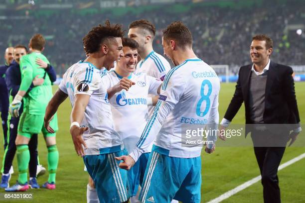 Thilo Kehrer Alessandro Schoepf and Leon Goretzka of Schalke celebrate with the fans after the UEFA Europa League Round of 16 second leg match...