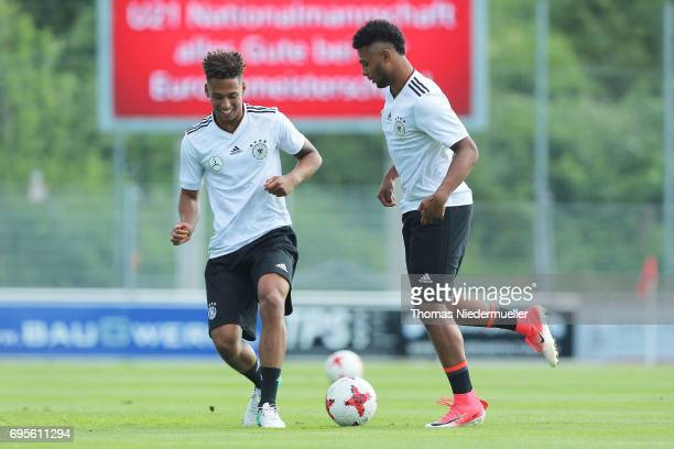 Thilo Kehrer and Serge Gnabry are seen during the Germany U21 training on June 13 2017 in Dreieich Germany