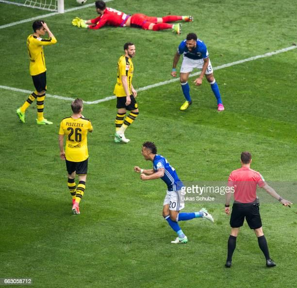 Thilo Kehrer celebrates his teams first goal during the Bundesliga match between FC Schalke 04 and Borussia Dortmund at VeltinsArena on April 1 2017...