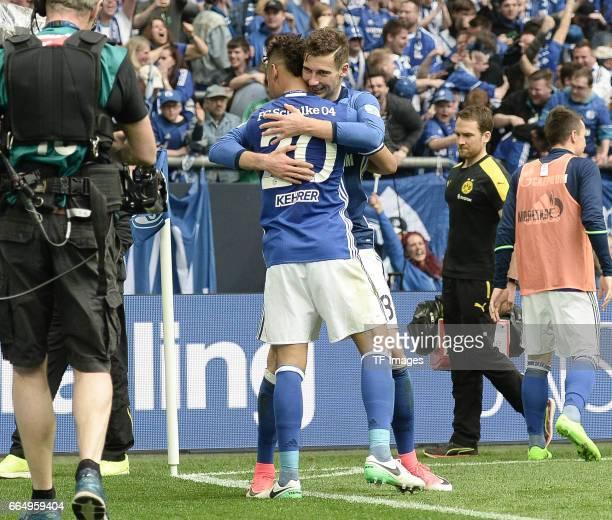 Thilo Kehrer of FC Schalke 04 celebrates after scoring during the Bundesliga match between FC Schalke 04 and Borussia Dortmund at VeltinsArena on...