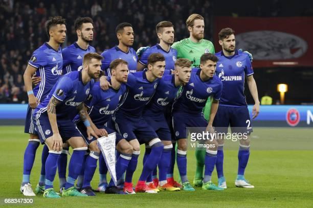 Thilo Kehrer of FC Schalke 04 Nabil Bentaleb of FC Schalke 04 Dennis Aogo of FC Schalke 04 Matija Nastasic of FC Schalke 04 goalkeeper Ralf Fahrmann...