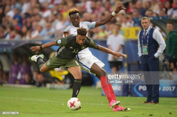 Thilo Kehrer of Germany and Tammy Abraham of England battle for possession during the UEFA European Under21 Championship Semi Final match between...