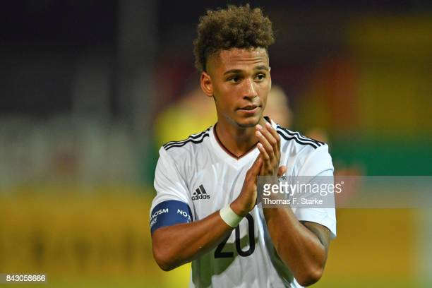 Thilo Kehrer of Germany applauds his supporters after winning the UEFA Euro 2019 Qualifier match between Germany U21 and Kosovo U21 at Osnatel Arena...