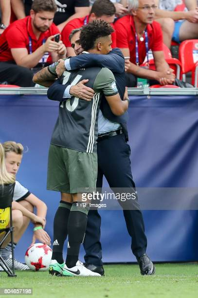 Thilo Kehrer of Germany Coach Stefan Kuntz of Germany during the UEFA European Under21 Championship Semi Final match between England and Germany at...