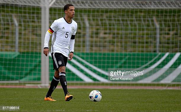 Thilo Kehrer of Germany controls the ball during the U20 International Friendly match between Germany and Switzerland at Moeslestadion on March 23...