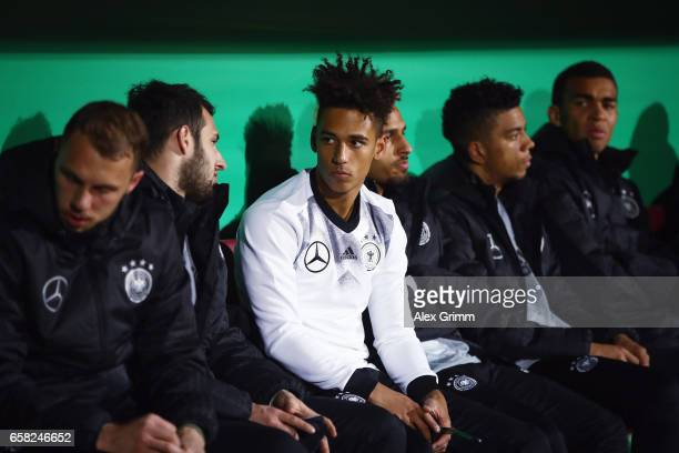 Thilo Kehrer of Germany looks on prior to the international friendly match between U21 Germany and U21 England at BRITAArena on March 24 2017 in...