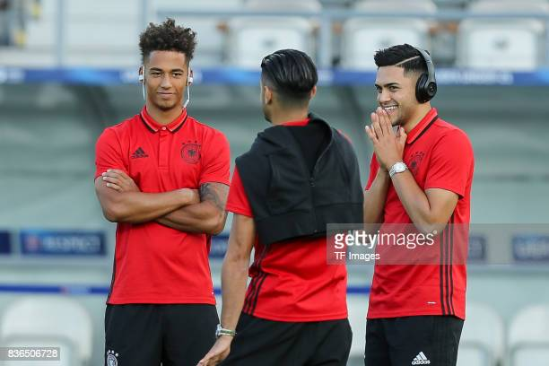 Thilo Kehrer of Germany Mahmoud Dahoud of Germany and Nadiem Amiri of Germany looks on during the UEFA U21 Final match between Germany and Spain at...