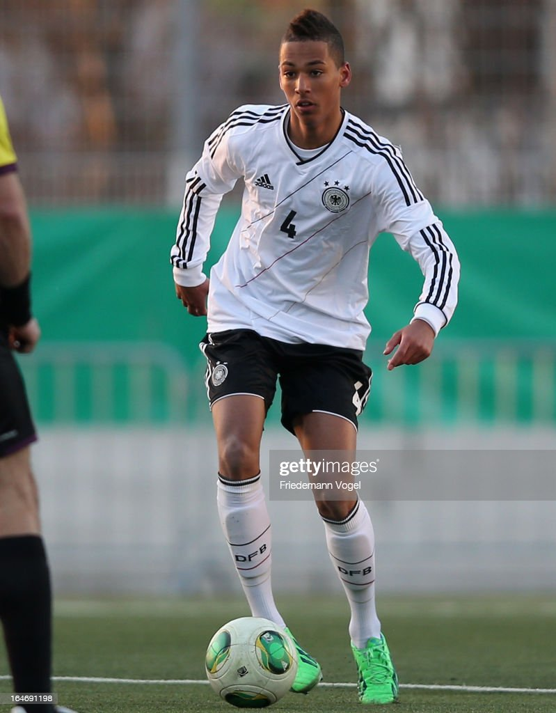 Thilo Kehrer of Germany runs with the ball during the UEFA Under17 Elite Round match between Germany and Bulgaria at Toennies-Arena on March 26, 2013 in Rheda-Wiedenbruck, Germany.