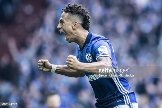 Thilo Kehrer of Schalke celebrates his team's first goal during the Bundesliga match between FC Schalke 04 and Borussia Dortmund at VeltinsArena on...