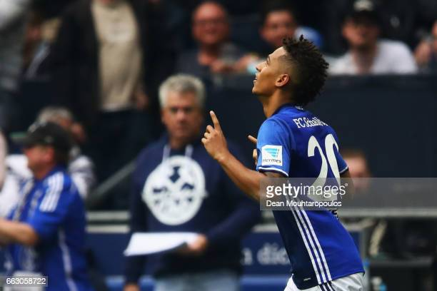 Thilo Kehrer of Schalke celebrates scoring his teams first goal of the game with team mates during the Bundesliga match between FC Schalke 04 and...