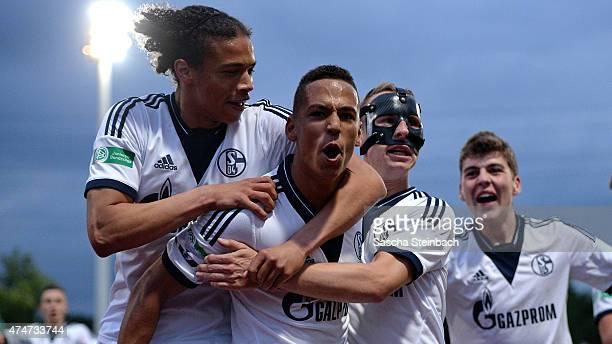 Thilo Kehrer of Schalke celebrates with team mates after scoring his team's second goal during the U19 AJuniors Bundesliga Final between FC Schalke...