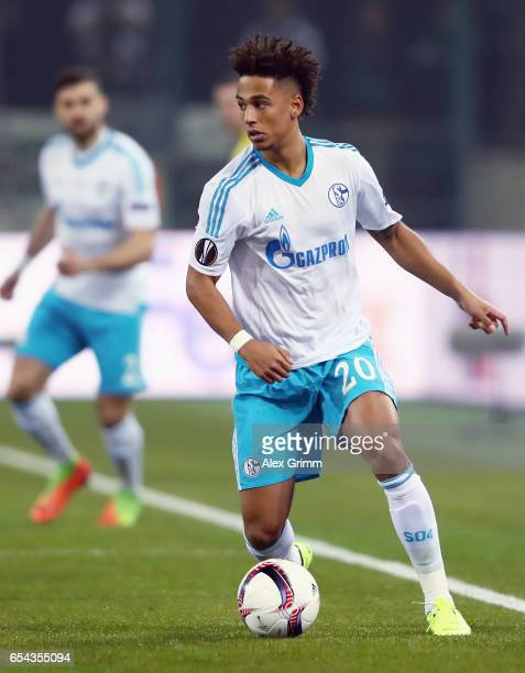 Thilo Kehrer of Schalke controles the ball during the UEFA Europa League Round of 16 second leg match between Borussia Moenchengladbach and FC...