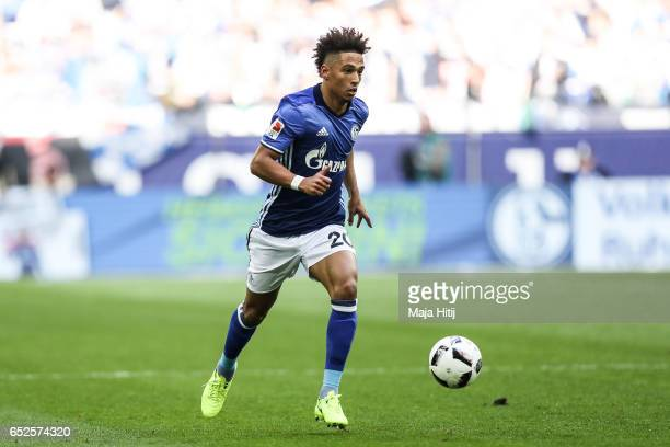 Thilo Kehrer of Schalke controls the ball during the Bundesliga match between FC Schalke 04 and FC Augsburg at VeltinsArena on March 12 2017 in...