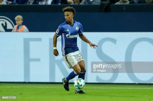 Thilo Kehrer of Schalke controls the ball during the Bundesliga match between FC Schalke 04 and Bayer 04 Leverkusen at VeltinsArena on September 29...