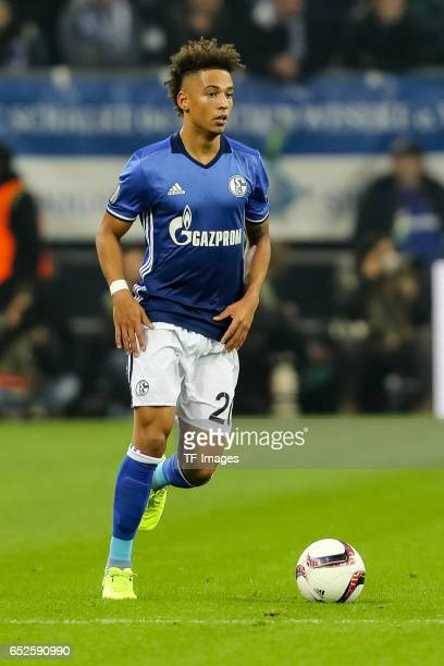 Thilo Kehrer of Schalke controls the ball during the UEFA Europa League Round of 16 first leg match between FC Schalke 04 and Borussia...