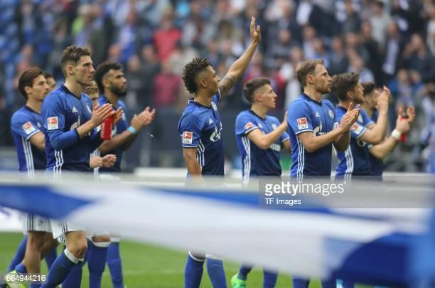 Thilo Kehrer of Schalke gestures after the Bundesliga match between FC Schalke 04 and Borussia Dortmund at VeltinsArena on April 1 2017 in...