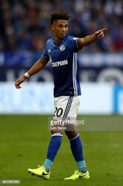 Thilo Kehrer of Schalke gestures during the Bundesliga match between FC Schalke 04 and FC Augsburg at VeltinsArena on March 12 2017 in Gelsenkirchen...