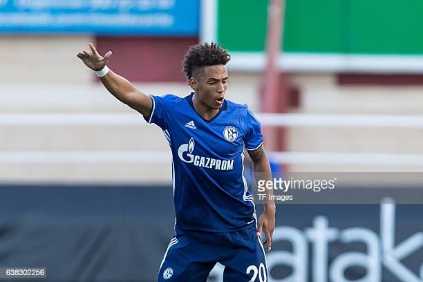 Thilo Kehrer of Schalke gestures during the friendly match between FC Schalke 04 v KV Oostende Friendly Match at Estadio Municipal Guillermo Amor on...