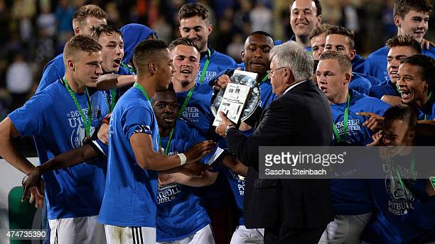 Thilo Kehrer of Schalke gets the trophy after winning the U19 AJuniors Bundesliga final match against 1899 Hoffenheim on May 25 2015 in Bochum Germany
