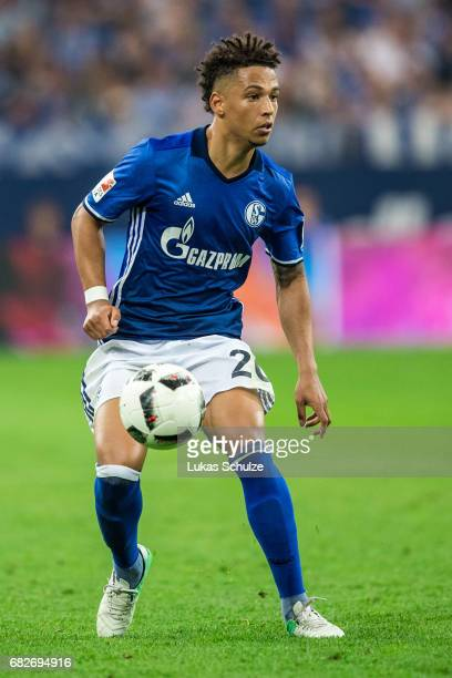 Thilo Kehrer of Schalke in action during the Bundesliga match between FC Schalke 04 and Hamburger SV at VeltinsArena on May 13 2017 in Gelsenkirchen...