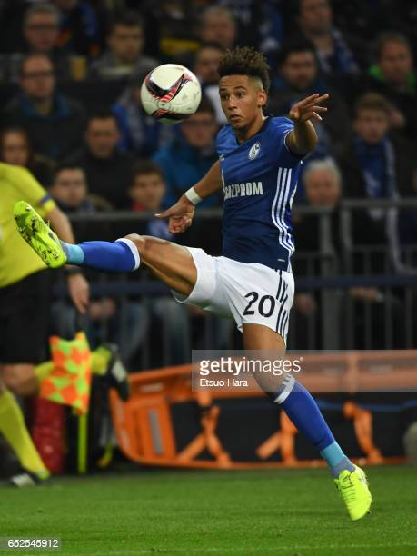 Thilo Kehrer of Schalke in action during the UEFA Europa League Round of 16 first leg match between FC Schalke 04 and Borussia Moenchengladbach at...