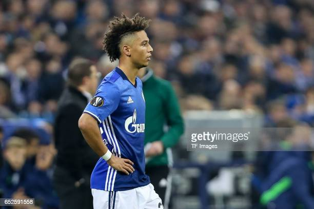 Thilo Kehrer of Schalke looks on during the UEFA Europa League Round of 16 first leg match between FC Schalke 04 and Borussia Moenchengladbach at...