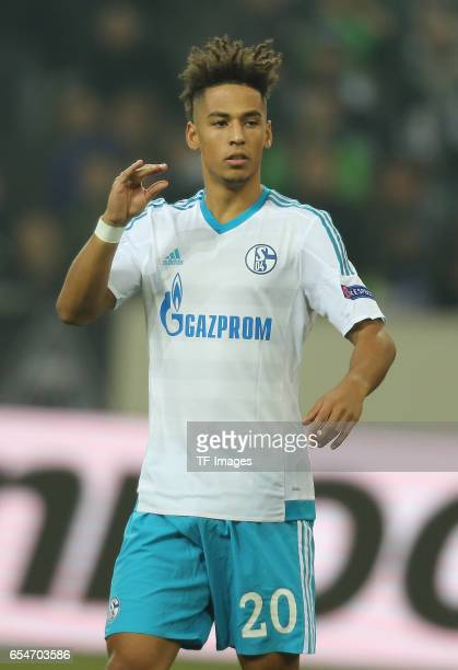 Thilo Kehrer of Schalke looks on during the UEFA Europa League Round of 16 second leg match between Borussia Moenchengladbach and FC Schalke 04 at...