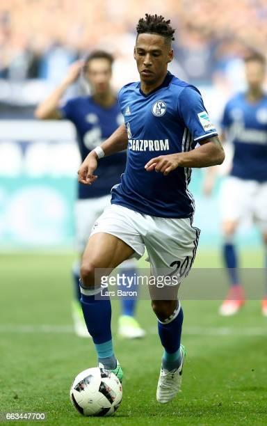 Thilo Kehrer of Schalke runs with the ball during the Bundesliga match between FC Schalke 04 and Borussia Dortmund at VeltinsArena on April 1 2017 in...
