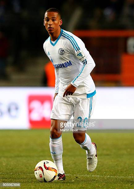 Thilo Kehrer of Schalke runs with the ball during the friendly match between Arminia Bielefeld and Schalke 04 at Schueco Arena on January 18 2016 in...