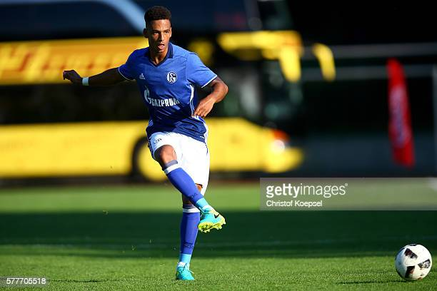 Thilo Kehrer of Schalke runs with the ball during the friendly match between DSC WanneEickel and FC Schalke 04 at Mondpalast Arena on July 19 2016 in...