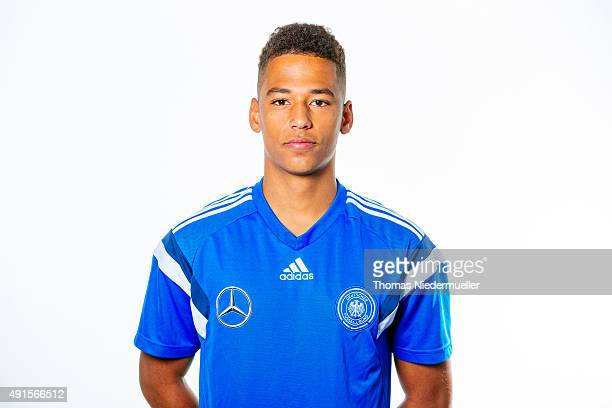 Thilo Kehrer poses during a photocall of the Under 20 National Football Team on October 6 2015 in Ulm Germany